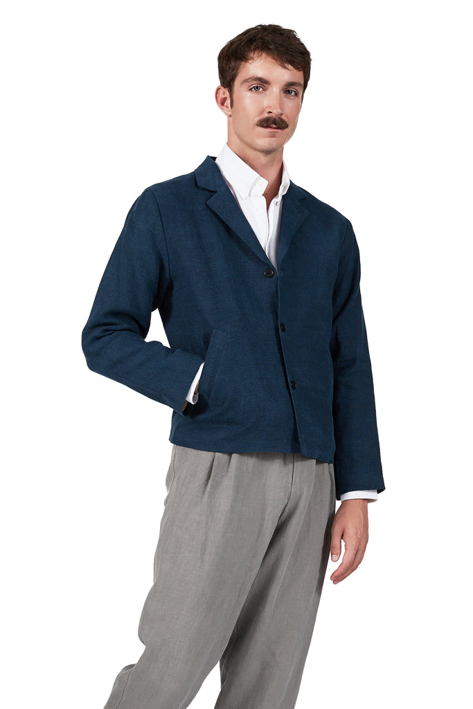Varsity-pocket Blazer in Indigo Linen