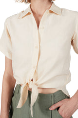 Short-sleeved Tie-front in Shell Linen