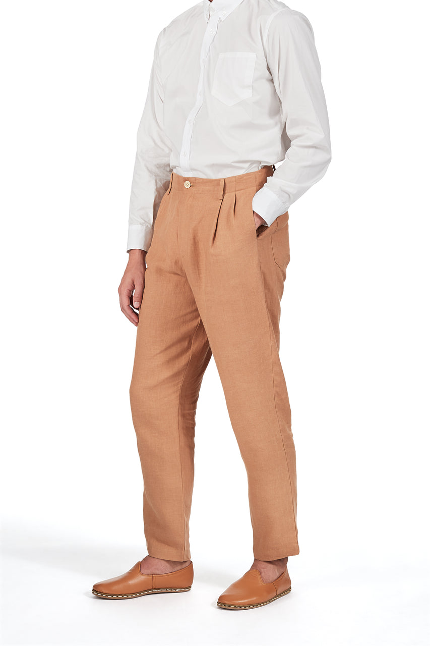 Double-pleat Pants in Toast Linen
