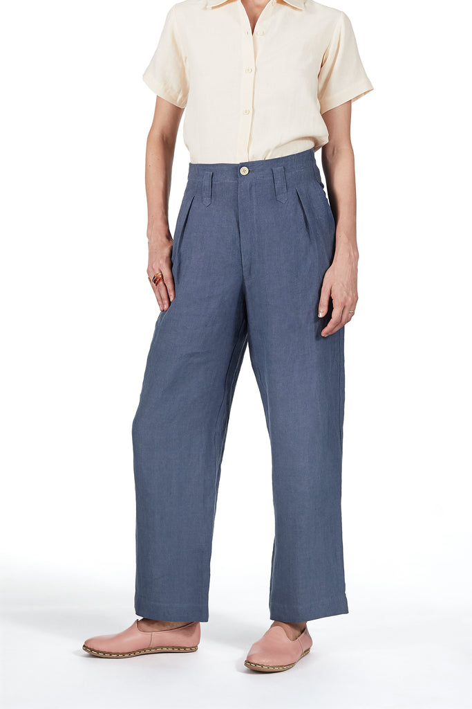 Sailor Pant in Cornflower Blue Linen