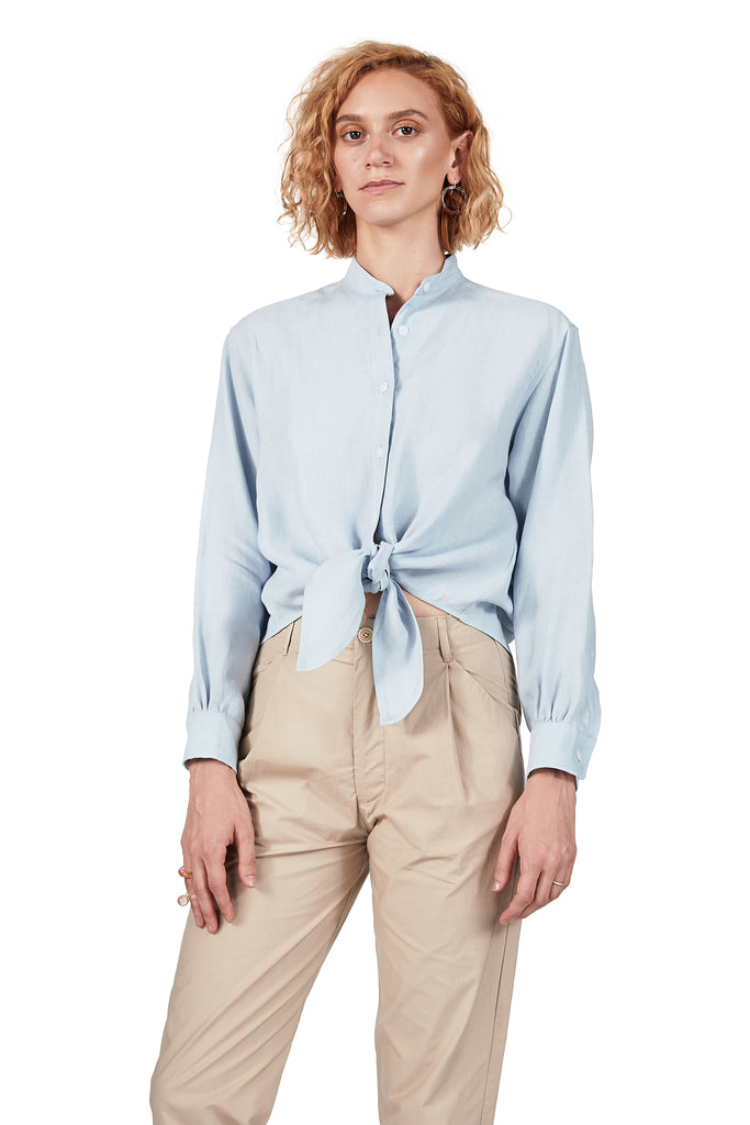 Long-sleeved Tie-front in Sky Blue Linen