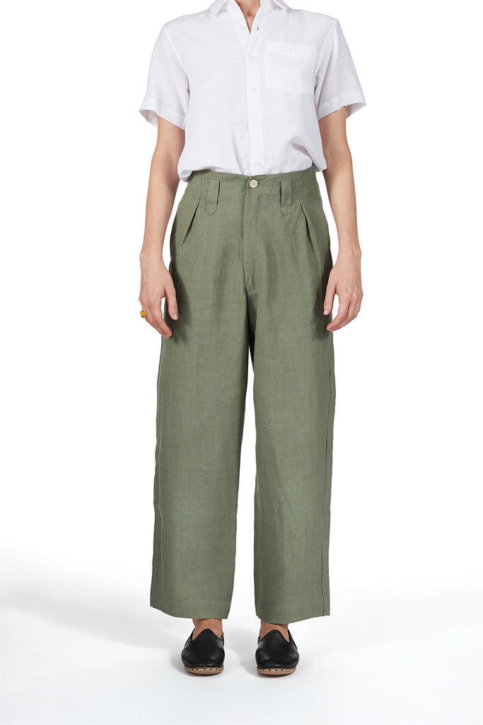 Sailor Pant in Olive Green Linen