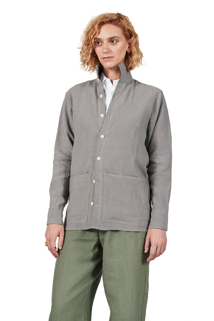 Jacket Shirt in Linen Flint