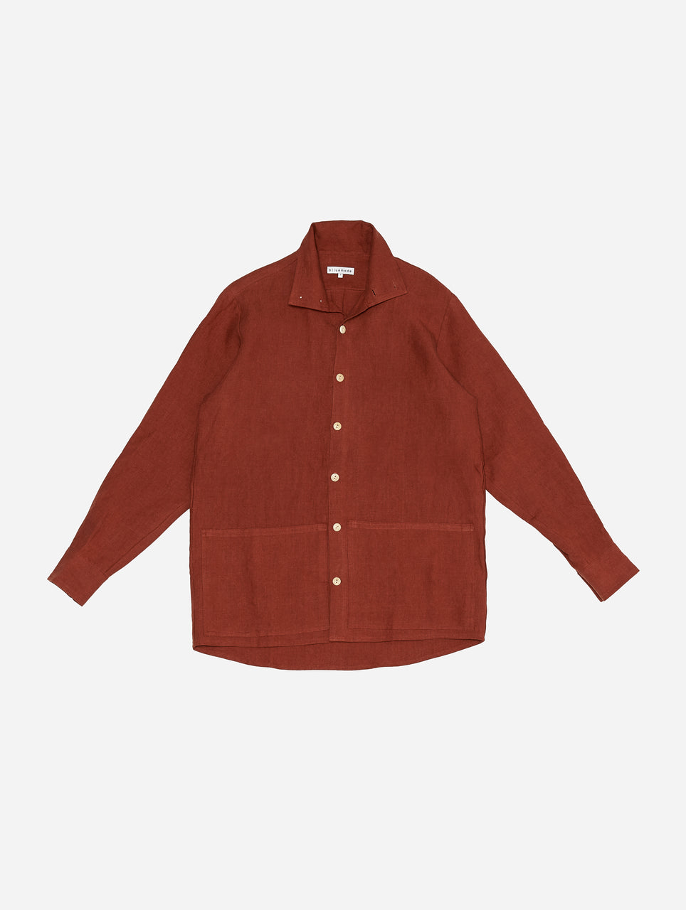 Jacket Shirt in Rust Linen