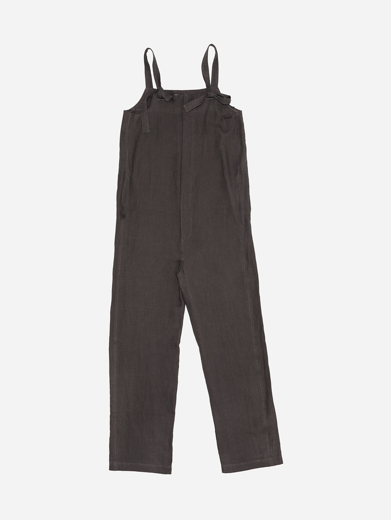 Zipped Overall in Raisin Linen