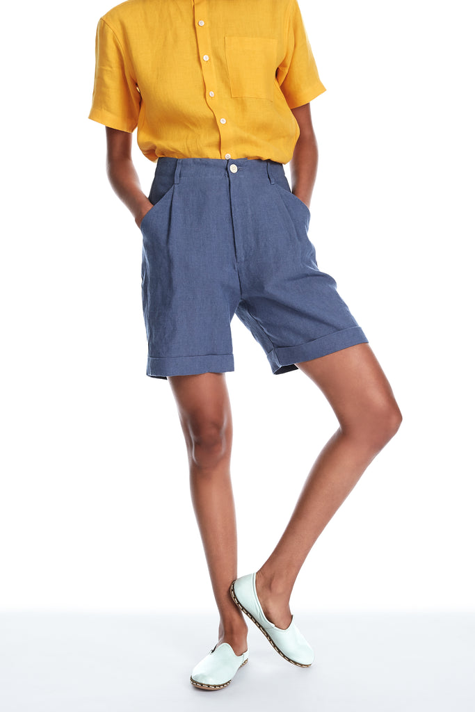 Linen Shorts in Cornflower Blue