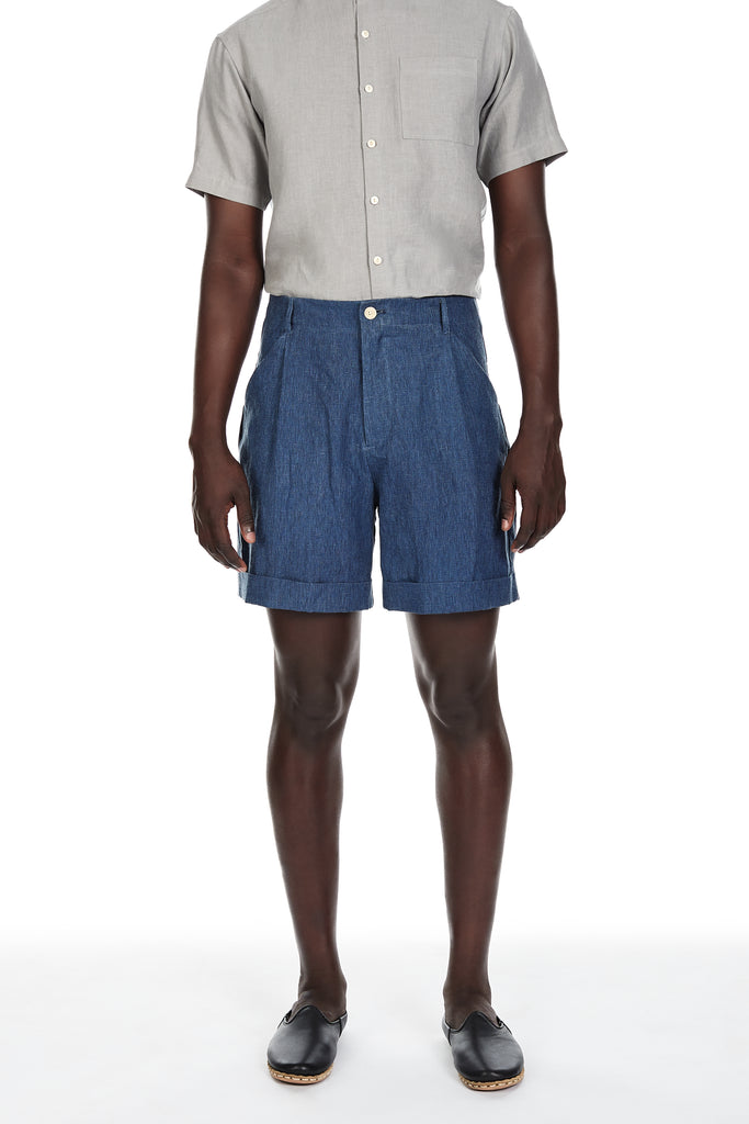 Linen Shorts in Indigo