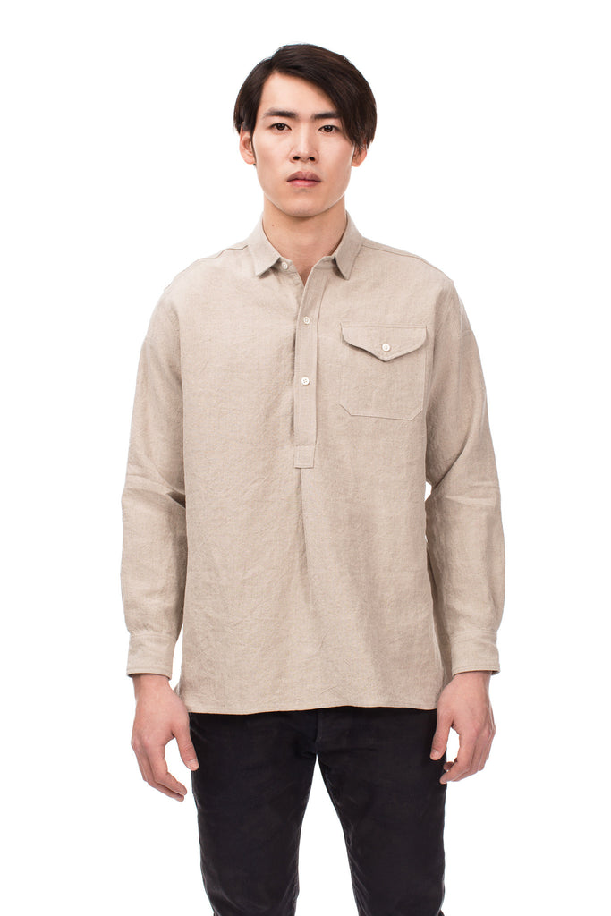 Stonewashed Flax Linen French Shirt