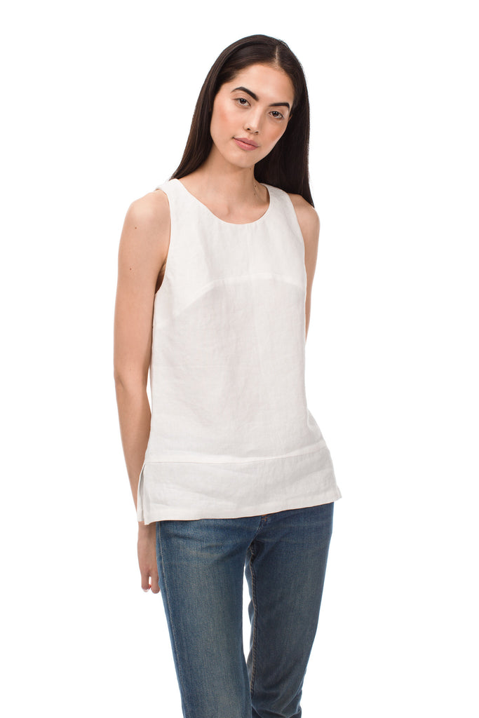 Pieced Oyster Linen Tank Top