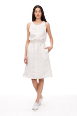 Cinched Sleeveless Oyster Linen Dress