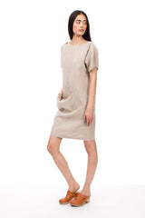 Stonewashed Flax Linen Soft Pocket Dress