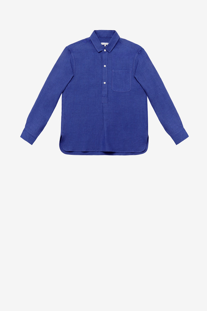French pullover in Klein blue linen