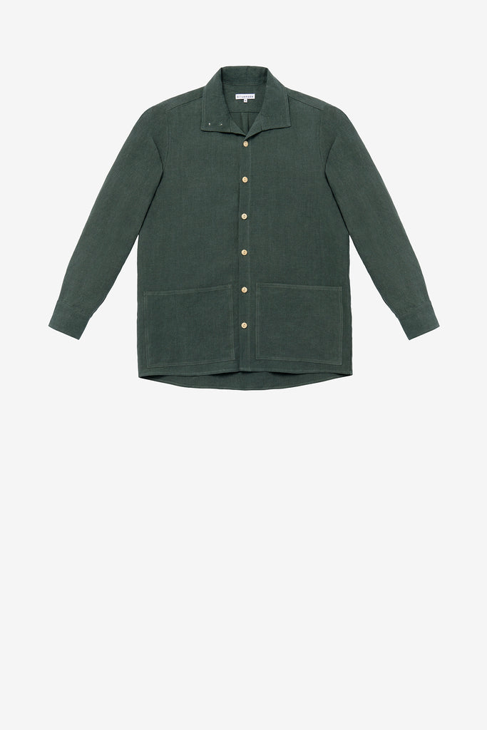 Jacket shirt in jade green linen