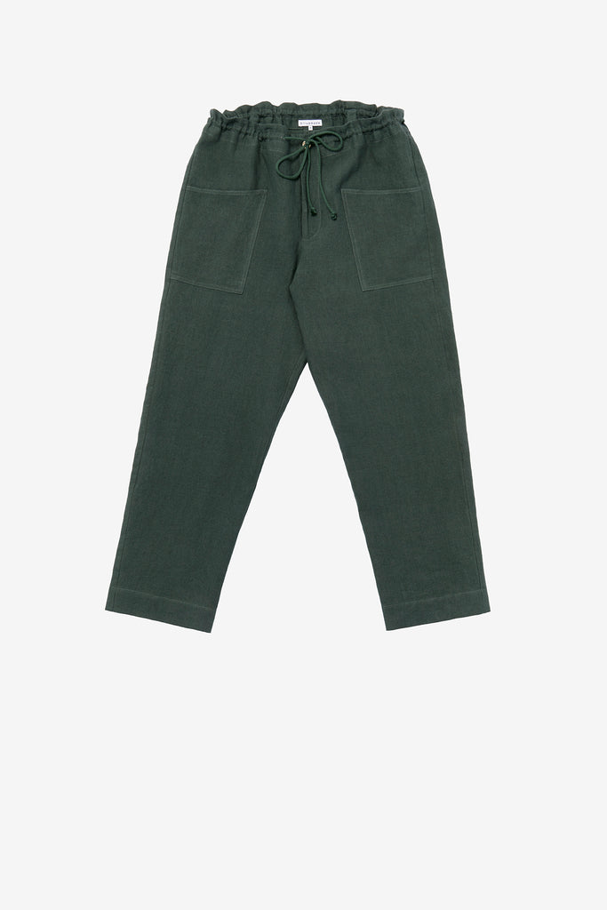 Patch pant in jade linen