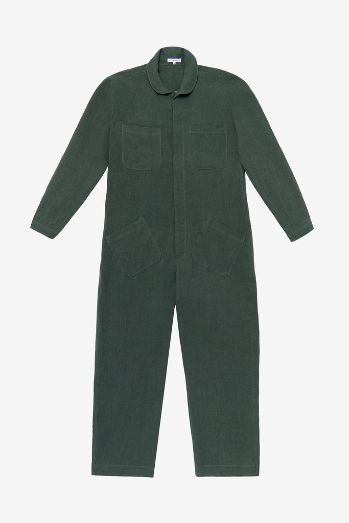 Jumpsuit in jade green linen
