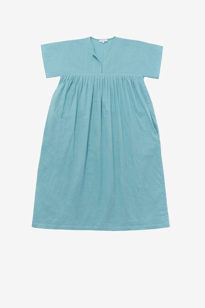Smock dress in robins egg blue