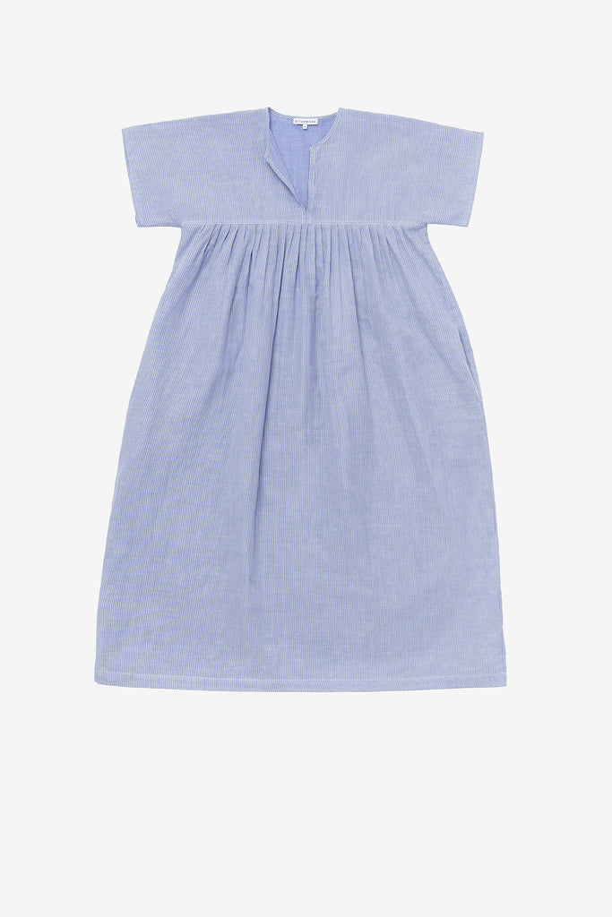 Smock dress in blue stripe gauze