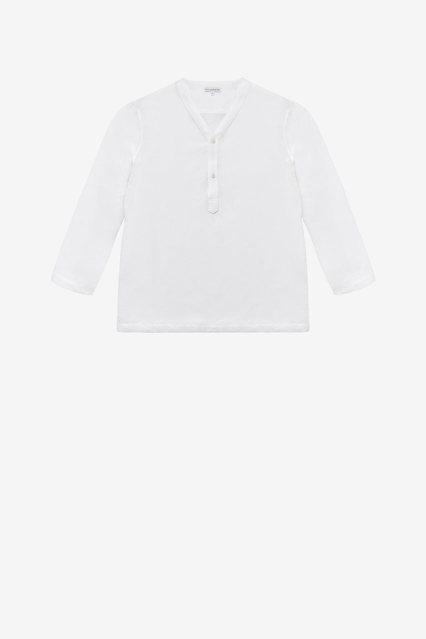 Russian tee in white linen