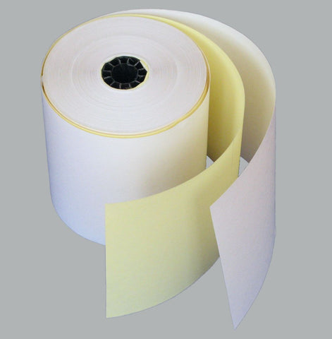 3in by 3in Two Ply Rolls, 50 per box, White/Yellow - PaperFormsandMore