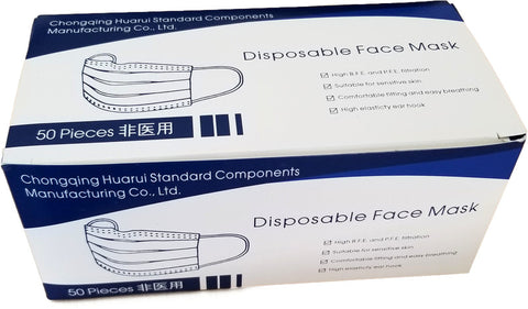3 ply face mask:  Box of 50