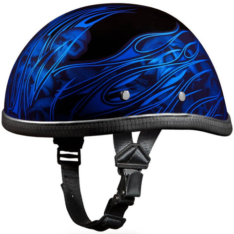 Novelty Helmet | Novelty Motorcycle Helmet | Blue Flames with Skulls Eagle Novelty Helmet by Daytona