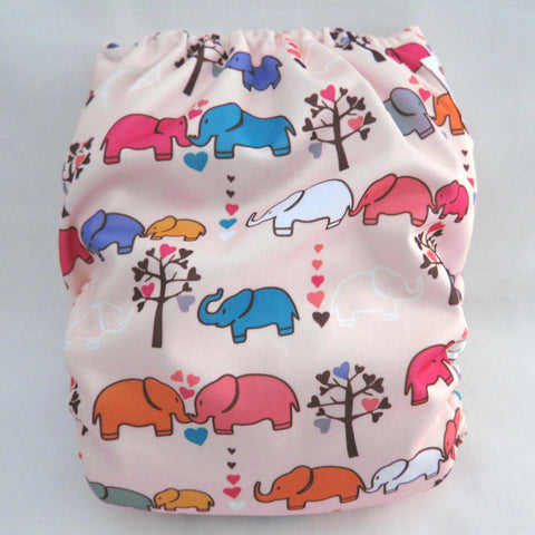 "Kawaii Baby One Size Organic Bamboo Terry Cloth Diaper with 2 Bamboo Inserts ""Marching Elephants Peach"""