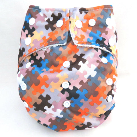 "Kawaii Baby One Size Organic Bamboo Terry Cloth Diaper with 2 Bamboo Inserts ""Jigsaw Puzzle"""