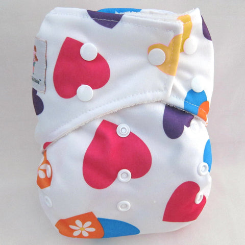 "Kawaii Baby One Size Organic Bamboo Terry Cloth Diaper with 2 Bamboo Inserts ""Red Hearts"""