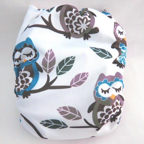 "Kawaii Baby One Size Organic Bamboo Terry Cloth Diaper with 2 Bamboo Inserts ""Yellow Beak Owls"""