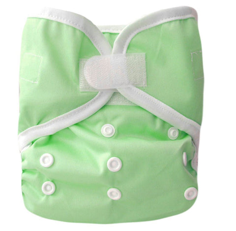 Kawaii Baby One Size Happy Leak-free Velcro Cloth Diaper Cover for Prefolds Lime