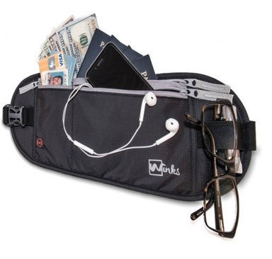 Winks Travel Money Belt / Wallet & Passport Holder with RFID Blocking Security - For Comfort & Durability