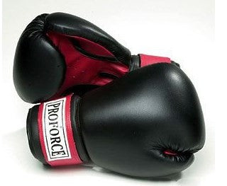 ProForce Leatherette Boxing Gloves Black w/Red Palm