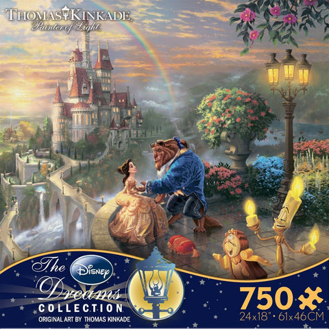 Ceaco Thomas Kinkade The Disney Dreams Collection: Beauty and The Beast Falling in Love Puzzle, 750 Pieces