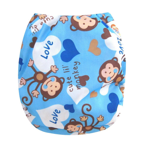 "Kawaii Baby One Size Organic Bamboo Terry Cloth Diaper with 2 Bamboo Inserts "" Chinp """