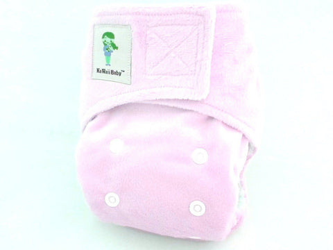 Kawaii Newborn Little Green Baby Organic Bamboo Cloth Diaper - Cotton Candy Minky