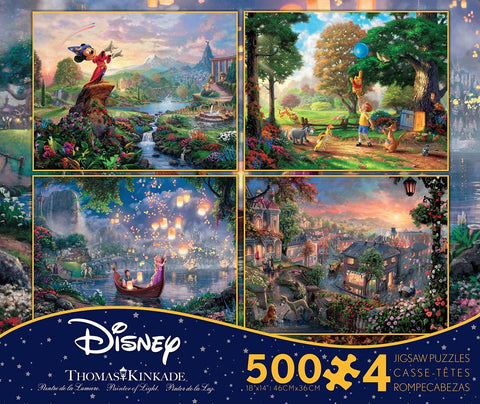 Ceaco Thomas Kinkade Disney Dreams 4 in 1 Puzzle Set (500 Pieces Each) - Fantasia, Lady & The Tramp, Winnie the Pooh, Tangled