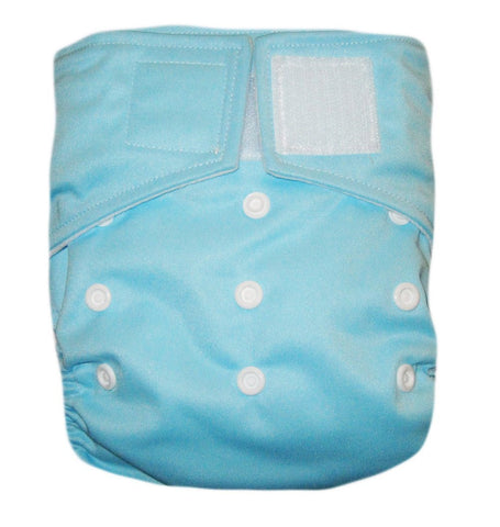 "Kawaii Baby Heavy Duty One Size Velcro Cloth Diaper W/2 Inserts ""Light Blue"""