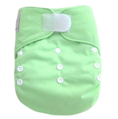 "Kawaii Baby Heavy Duty One Size Velcro Cloth Diaper W/2 Inserts "" Lime Green """