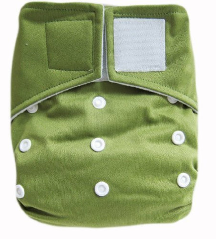 "Kawaii Baby Heavy Duty Hd2 One Size Velcro Cloth Diaper with 2 Large Inserts "" Olive """