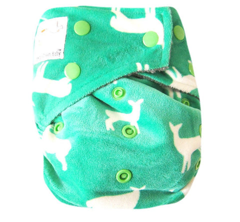 "Kawaii Baby Bamboo Charcoal One Size Cloth Diaper with 2 Four Layers Inserts "" Reindeer """