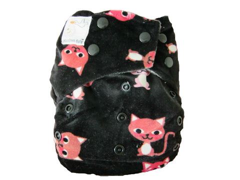 Kawaii Baby Mom Label Minky Bamboo Charcoal OS Cloth Diaper