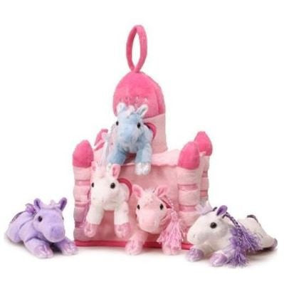 Plush Unicorn Castle with Animals - Five (5) Stuffed Animal Unicorns in Play Carrying Castle Case - Pink