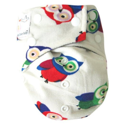 "Kawaii Baby Bamboo Charcoal One Size Cloth Diaper with 2 Four Layers Inserts "" Owls """
