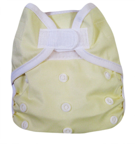 "Kawaii Baby One Size Velcro Cloth Diaper Cover for Prefolds "" Yellow """