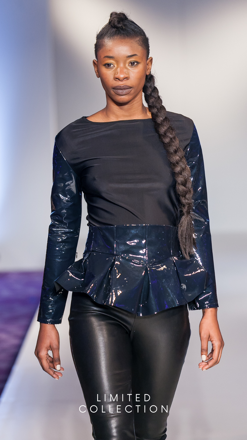 Gia Milenia Blue Navy Top Runway