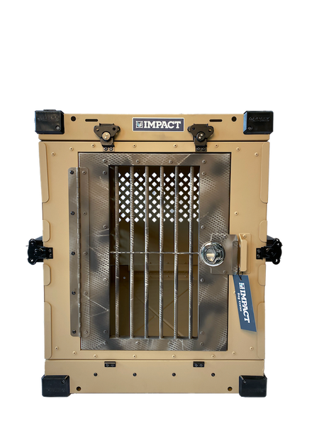 tan dog crate with camouflage door