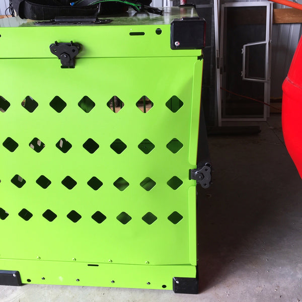 lime green collapsible impact dog crate car crash