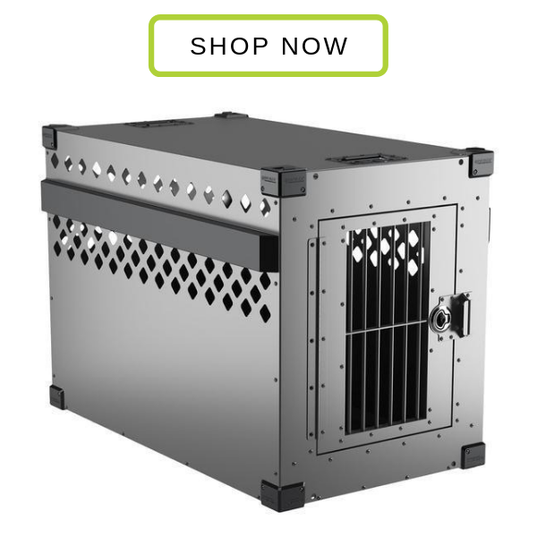 stationary impact crate for shepherd dog