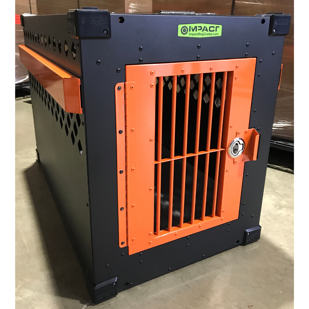 orange and black dog crate