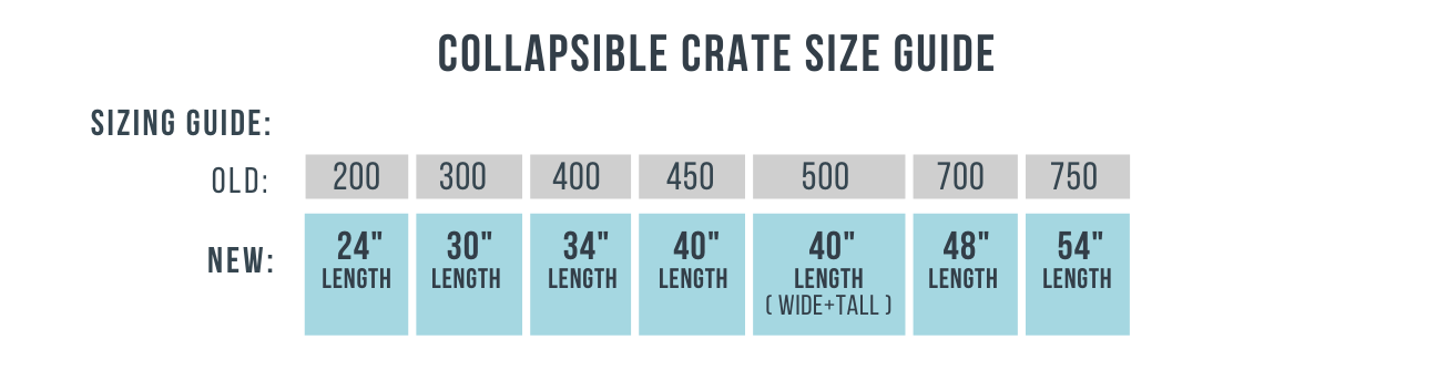 collapsible crate size conversion chart